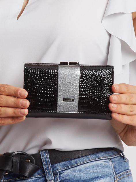 Czarno-szary mały portfel ze skóry