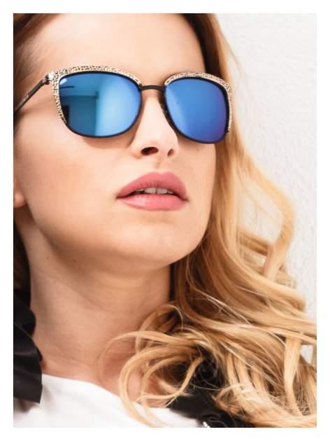 Czarno-złote klasyczne damskie okulary przeciwsłoneczne lustrzanki                                  zdj.                                  1