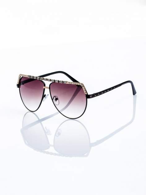 Czarno-złote okulary przeciwsłoneczne z cyrkoniami                                  zdj.                                  1