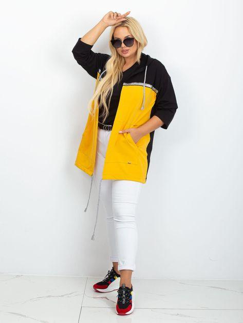 Czarno-żółta narzutka plus size Caroline                              zdj.                              4