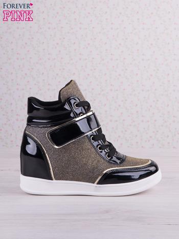 Czarnowozłote mieniące sneakersy z lakierowanymi wstawkami