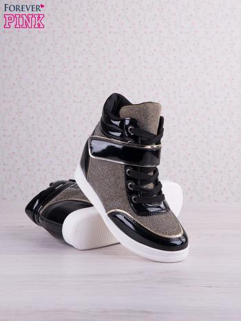 Czarnowozłote mieniące sneakersy z lakierowanymi wstawkami                                   zdj.                                  3