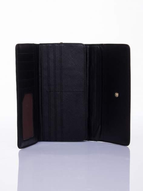 Czarny ażurowany portfel ze złotym suwakiem                                  zdj.                                  3