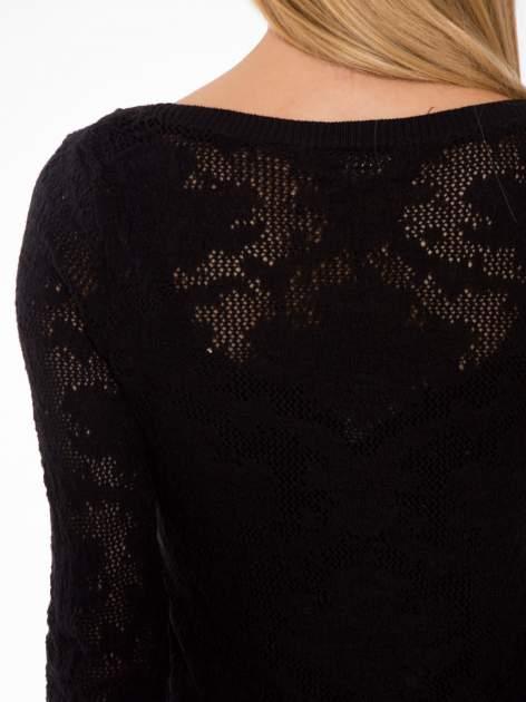 Czarny ażurowy sweter z rękawami 3/4                                  zdj.                                  7