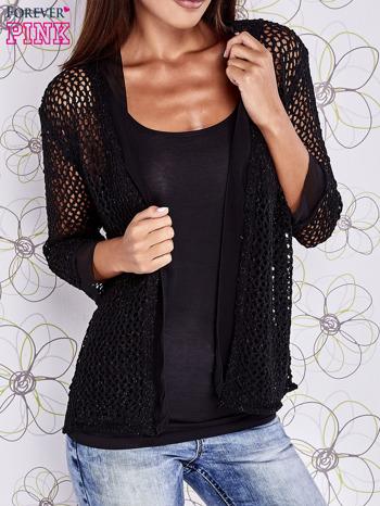 Czarny ażurowy sweter z tiulowym wykończeniem rękawów                                  zdj.                                  1