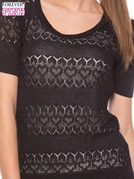 Czarny ażurowy sweterek w stylu retro                                  zdj.                                  5