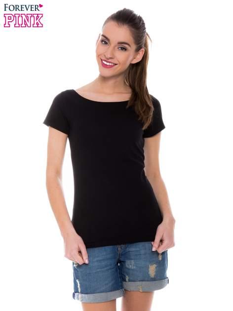 Czarny basicowy t-shirt z okrągłym dekoltem                                  zdj.                                  1