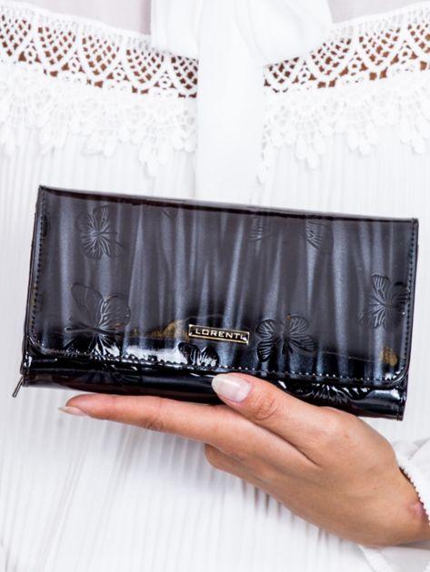 Czarny cieniowany lakierowany portfel w motyle