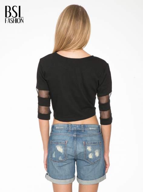 Czarny cropped t-shirt z transparentnymi rękawami                                  zdj.                                  4