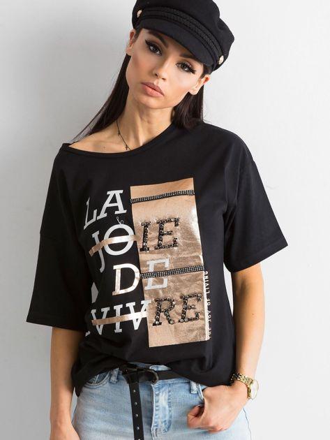 Czarny damski t-shirt z aplikacją                              zdj.                              1