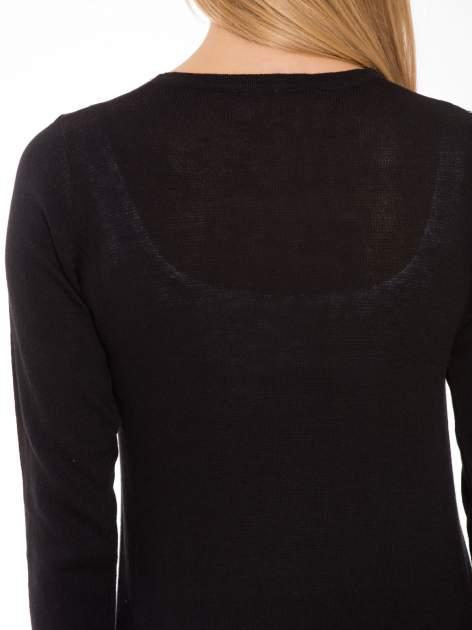 Czarny długi gładki sweter kardigan z kieszeniami                                  zdj.                                  9