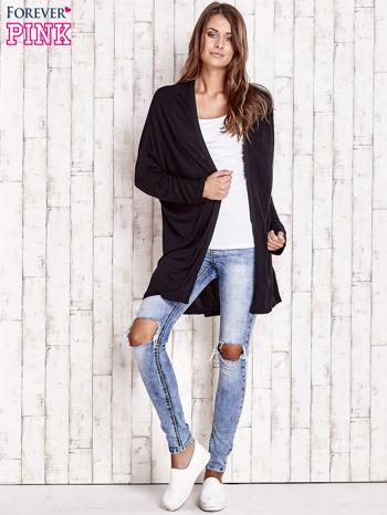 Czarny długi sweter z tiulowym wykończeniem                                  zdj.                                  2