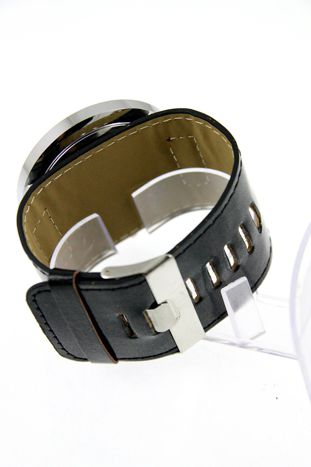 Czarny duży zegarek damski na skórzanym pasku                                  zdj.                                  2