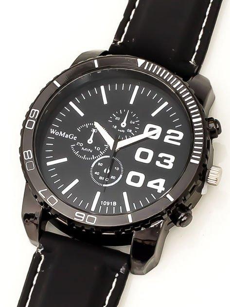 Czarny duży zegarek męski na silikonowym wygodnym pasku z białymi wstawkami                              zdj.                              2