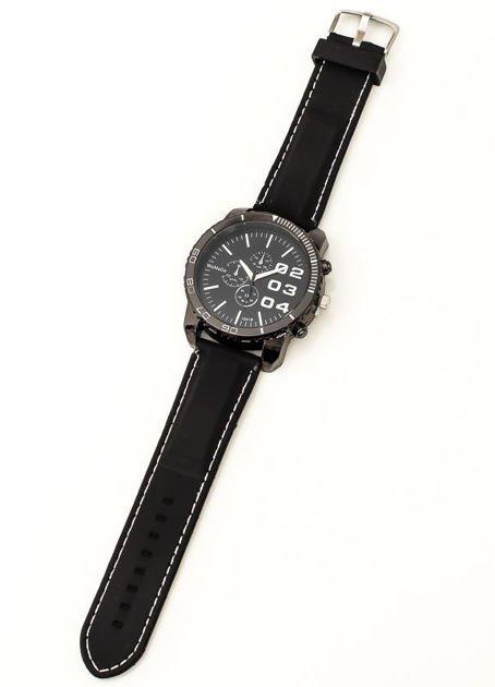 Czarny duży zegarek męski na silikonowym wygodnym pasku z białymi wstawkami                              zdj.                              3
