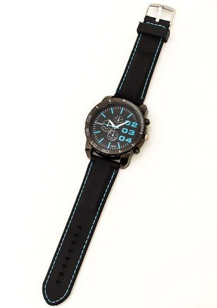 Czarny duży zegarek męski na silikonowym wygodnym pasku z błękitnymi wstawkami                              zdj.                              3