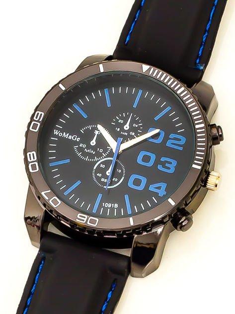 Czarny duży zegarek męski na silikonowym wygodnym pasku z granatowymi wstawkami                              zdj.                              3