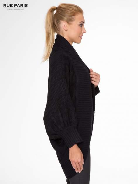 Czarny dziergany sweter typu otwarty kardigan                                  zdj.                                  3