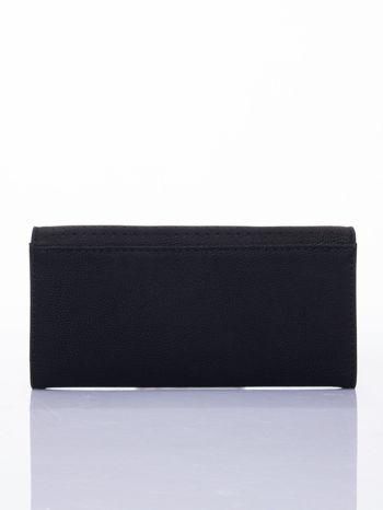 Czarny dziurkowany portfel ze złotym wykończeniem                                  zdj.                                  2