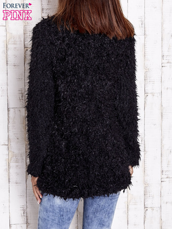 Czarny futrzany sweter kurtka na suwak                                  zdj.                                  6
