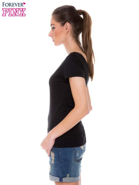 Czarny gładki t-shirt z marszczeniem z tyłu                                  zdj.                                  3