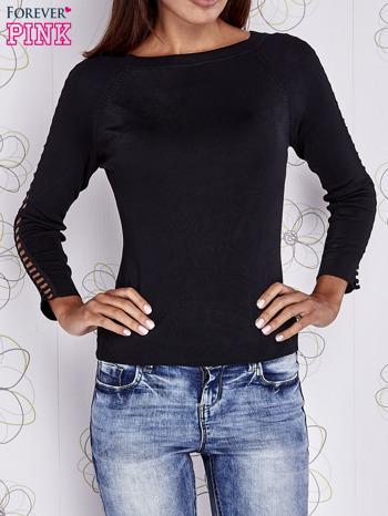 Czarny jedwabny sweter cut out shoulder