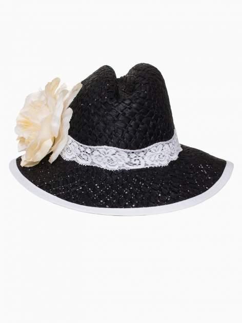 Czarny kapelusz słomiany z dużym rondem i dużym kwiatem                                  zdj.                                  6