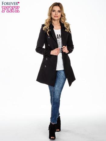 Czarny klasyczny płaszcz trencz ze skórzanym obszyciem                                  zdj.                                  2