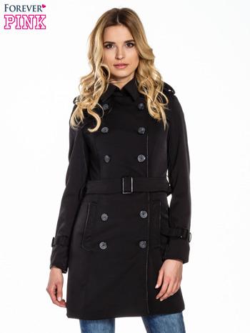 Czarny klasyczny płaszcz trencz ze skórzanym obszyciem                                  zdj.                                  1