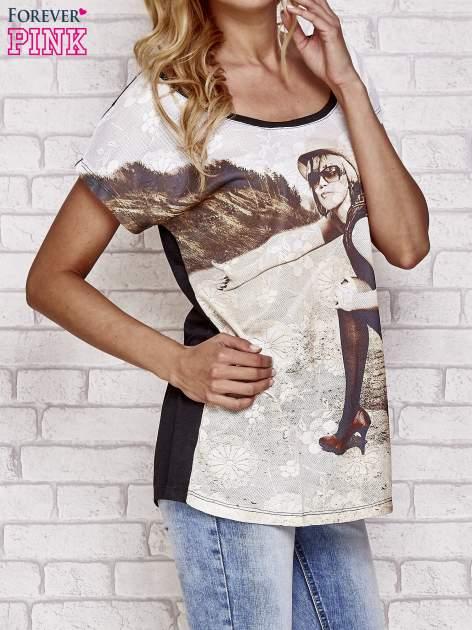 Czarny koronkowy t-shirt z nadrukiem dziewczyny                                  zdj.                                  3