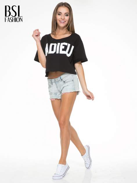 Czarny krótki t-shirt z napisem ADIEU                                  zdj.                                  5