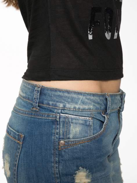 Czarny krótki t-shirt z napisem PARTY PERFECT FOREVER                                  zdj.                                  8