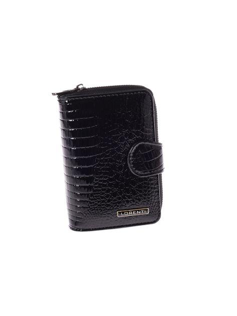 Czarny lakierowany portfel skórzany na suwak i napę