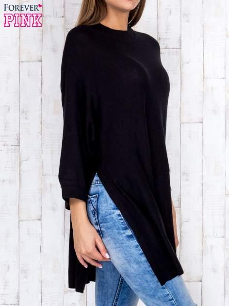 Czarny luźny sweter oversize z bocznymi rozcięciami                                  zdj.                                  3