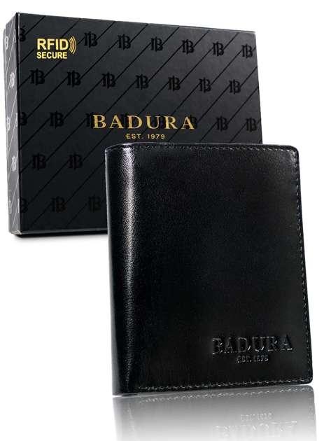Czarny mały portfel męski skórzany BADURA