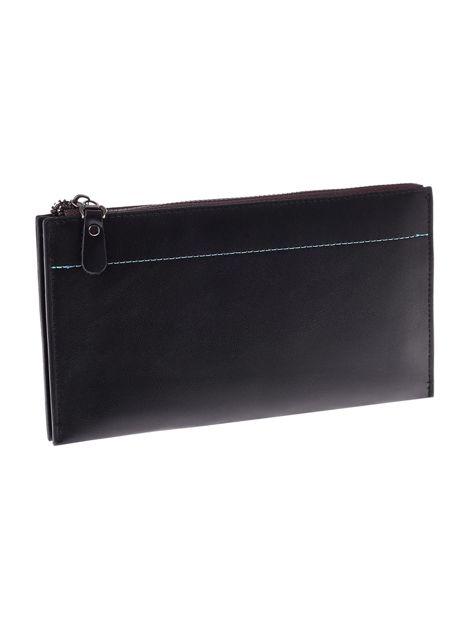 Czarny matowy długi portfel kopertówka na zamek