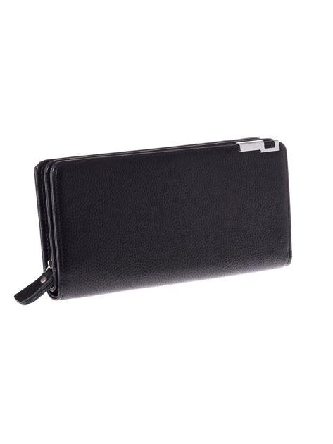 Czarny matowy długi portfel kopertówka na zamek i zatrzask
