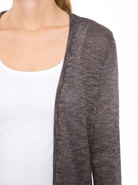 Czarny melanżowy sweter typu długi kardigan                                  zdj.                                  5