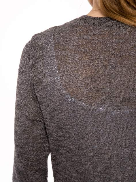 Czarny melanżowy sweter typu długi kardigan                                  zdj.                                  8