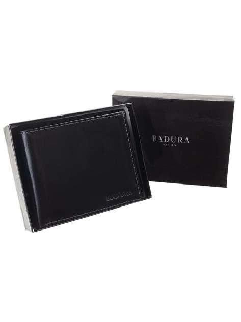 Czarny męski portfel skórzany BADURA