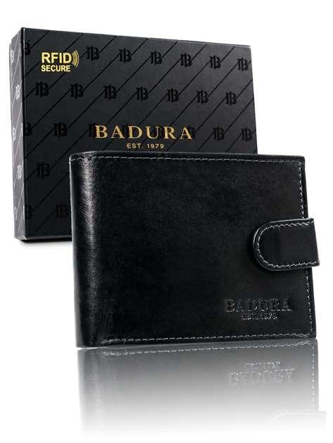 Czarny męski portfel z zapięciem BADURA