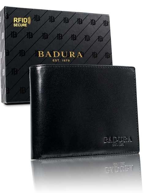 Czarny męski portfel ze skóry BADURA