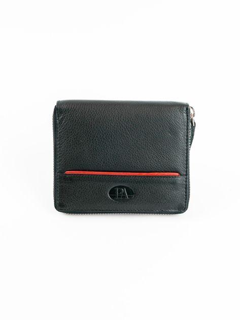 Czarny męski portfel ze skóry na suwak                              zdj.                              1