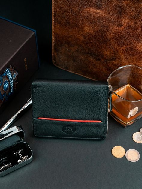 Czarny męski portfel ze skóry na suwak                              zdj.                              4