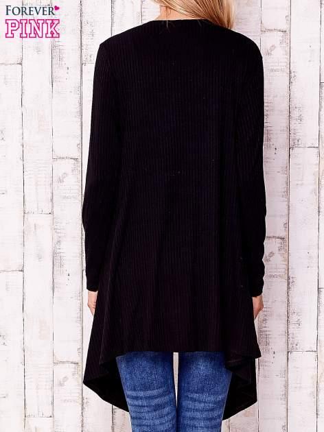 Czarny otwarty sweter w drobne prążki                                  zdj.                                  4