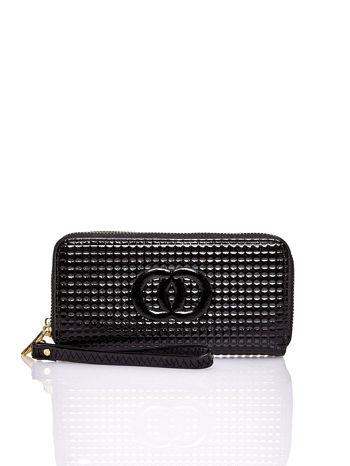 Czarny pikowany portfel z uchwytem na rękę                                  zdj.                                  1