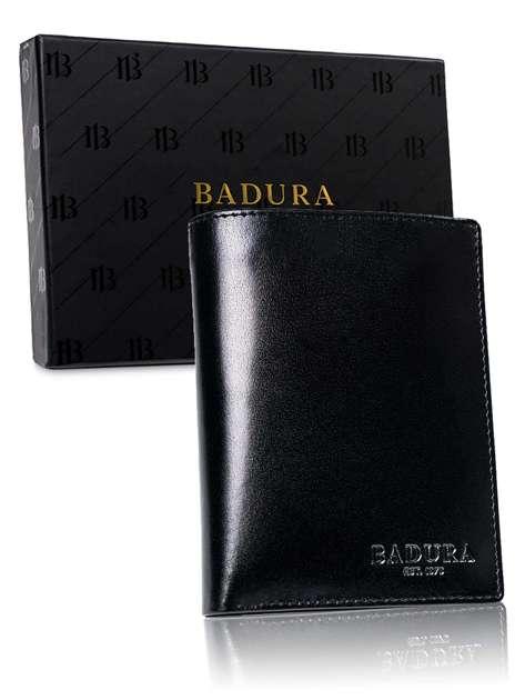 Czarny pionowy męski portfel BADURA
