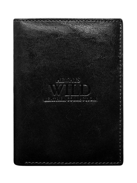 Czarny pionowy portfel męski z tłoczeniem                              zdj.                              1