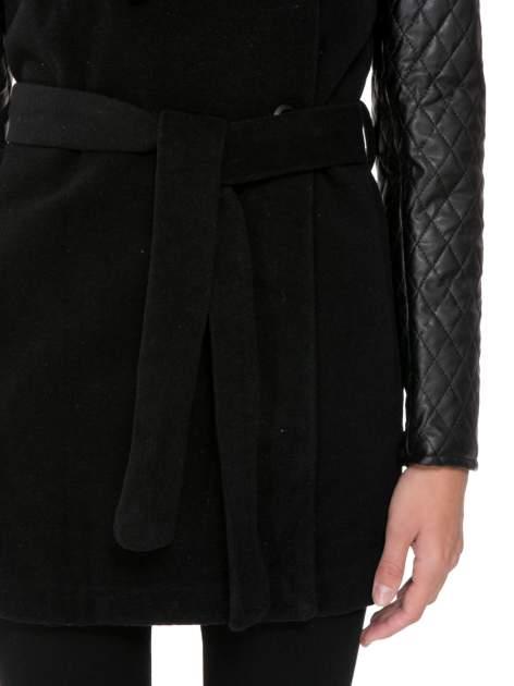Czarny płaszcz ze skórzanymi pikowanymi rękawami                                  zdj.                                  6