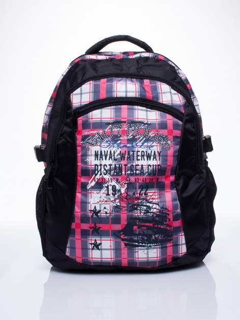 Czarny plecak szkolny DISNEY w kratę                                  zdj.                                  1